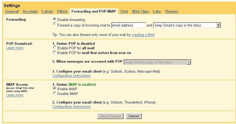 Gmailにて、IMAPによる接続を許可する